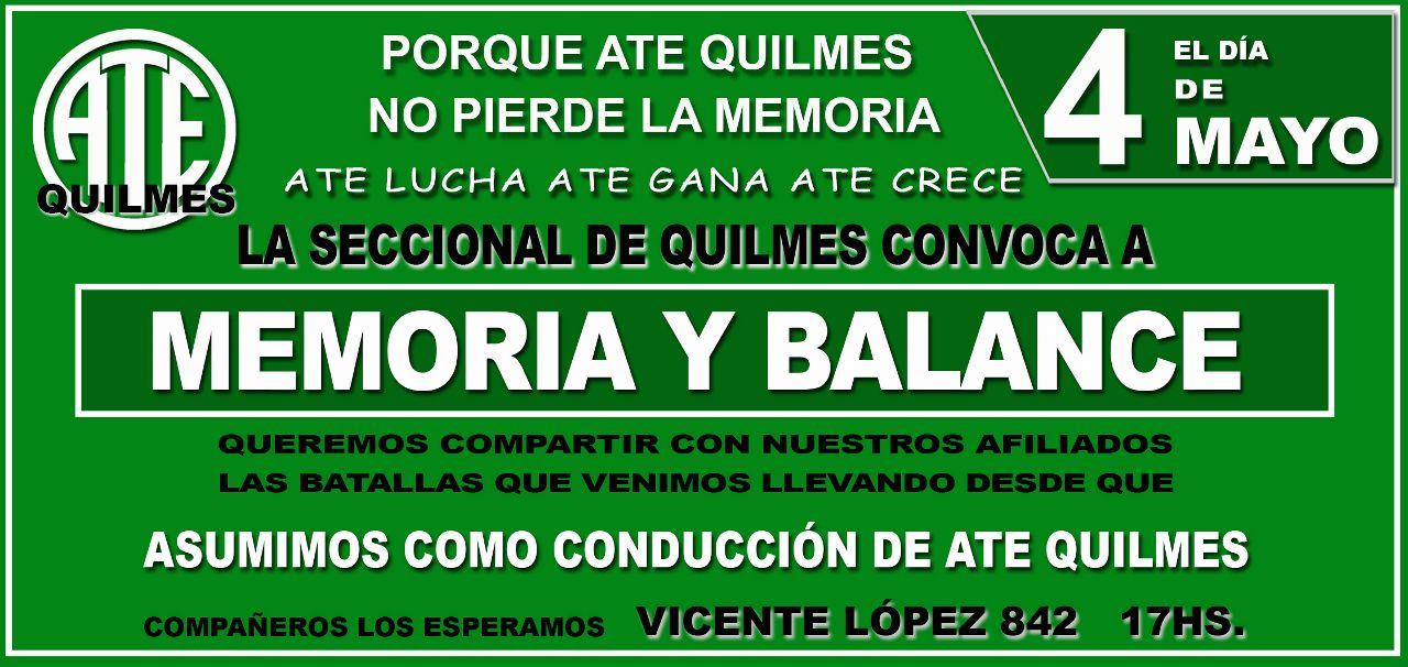 Memoria y Balance 2015 ATE Quilmes