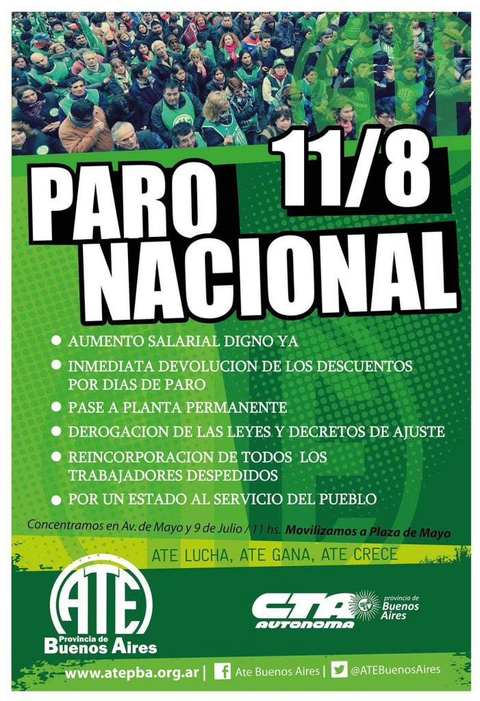 Afiche PARO NACIONAL ATE 110816